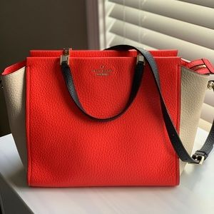 Kate Spade Orange & Cream Pebbled Leather Satchel